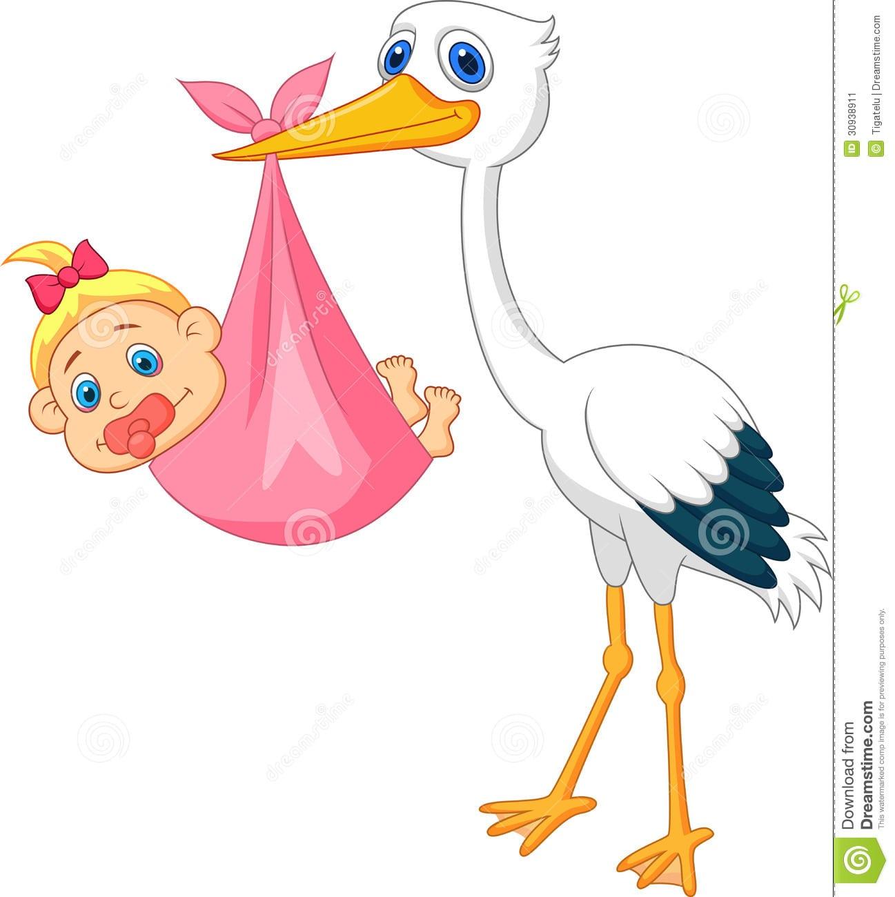 Cegonha Com Desenhos Animados Do Bebê Imagem De Stock