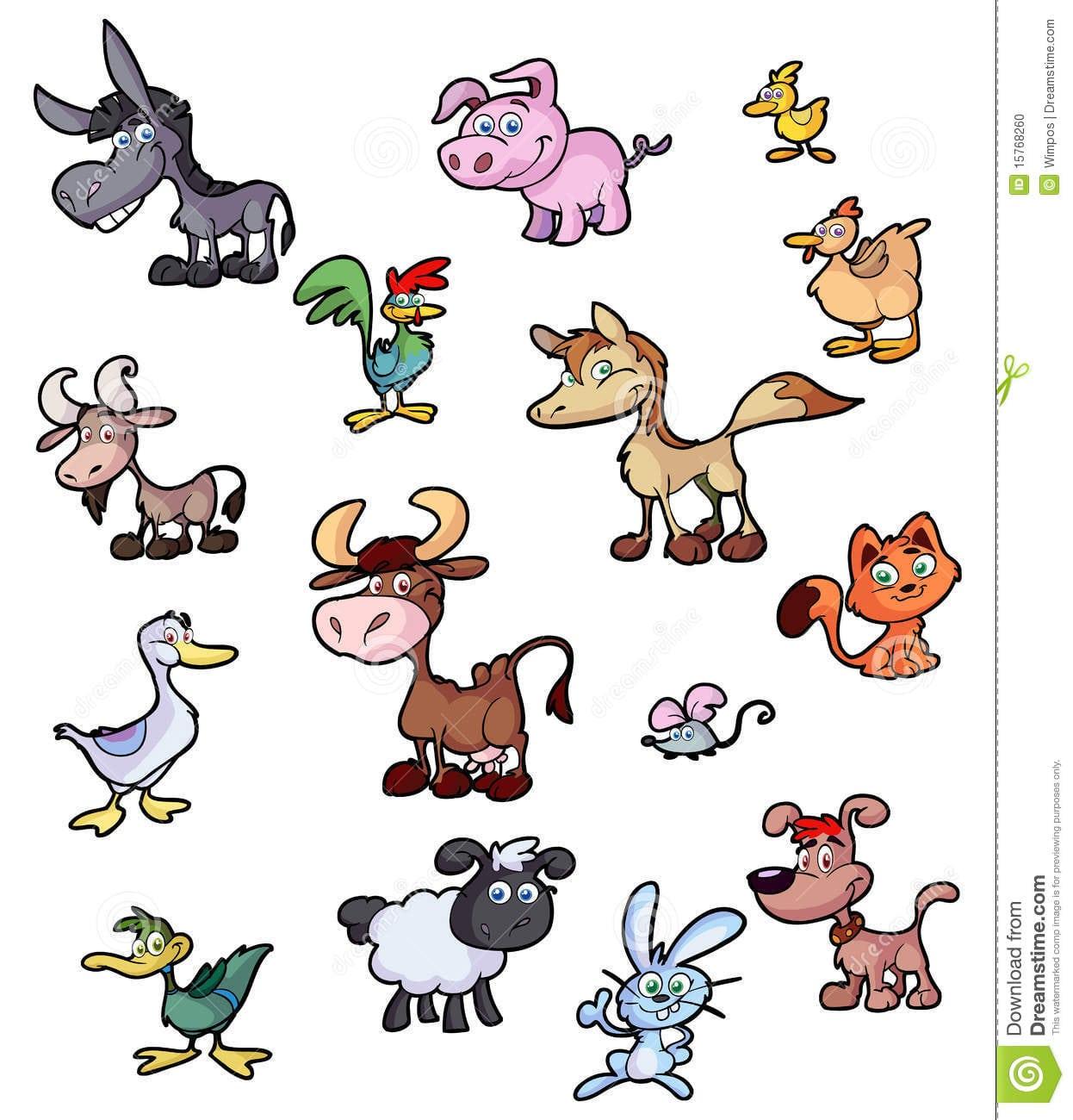 Coleção De Animais Dos Desenhos Animados Do Divertimento Foto De