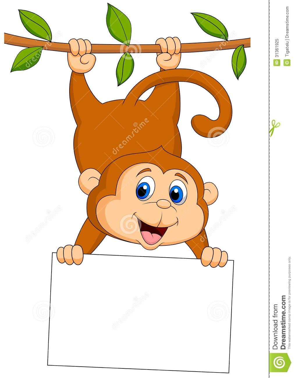Desenhos Animados Bonitos Do Macaco Com Sinal Vazio, Foto De Stock