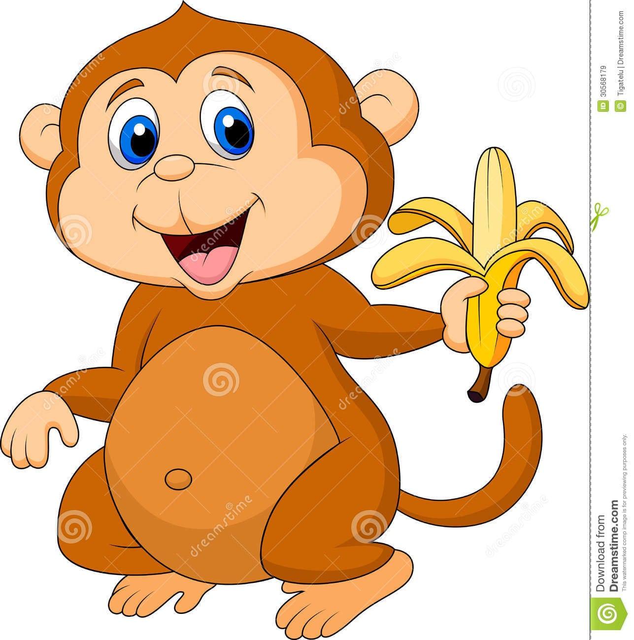 Desenhos Animados Bonitos Do Macaco Que Comem A Banana Foto De