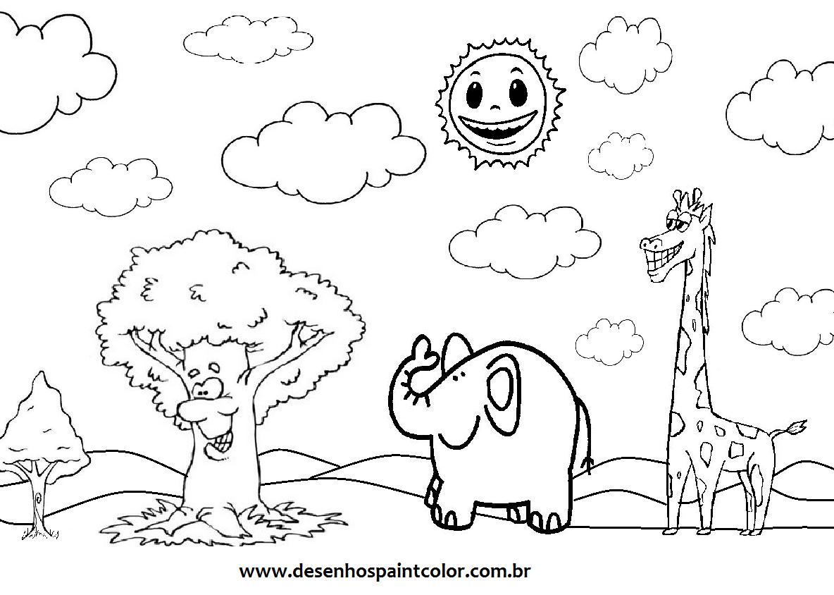 Desenho De Animais Em Meio Á Floresta Para Imprimir E Colorir