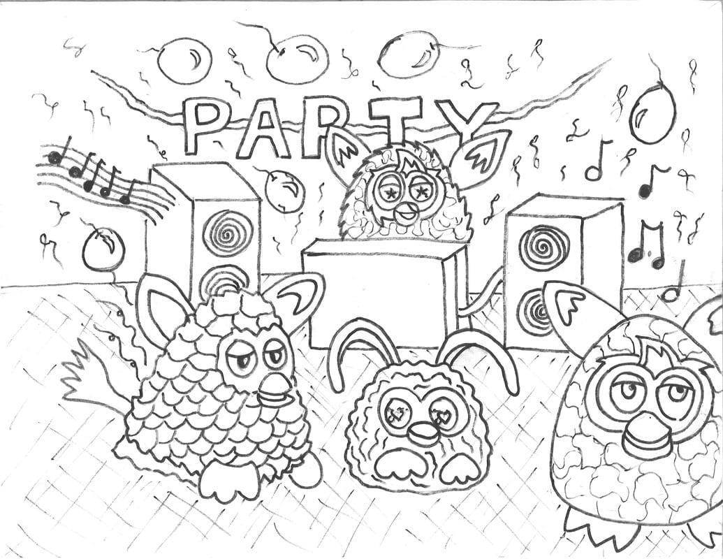 Furby's Dancing And Partying Coloring Page