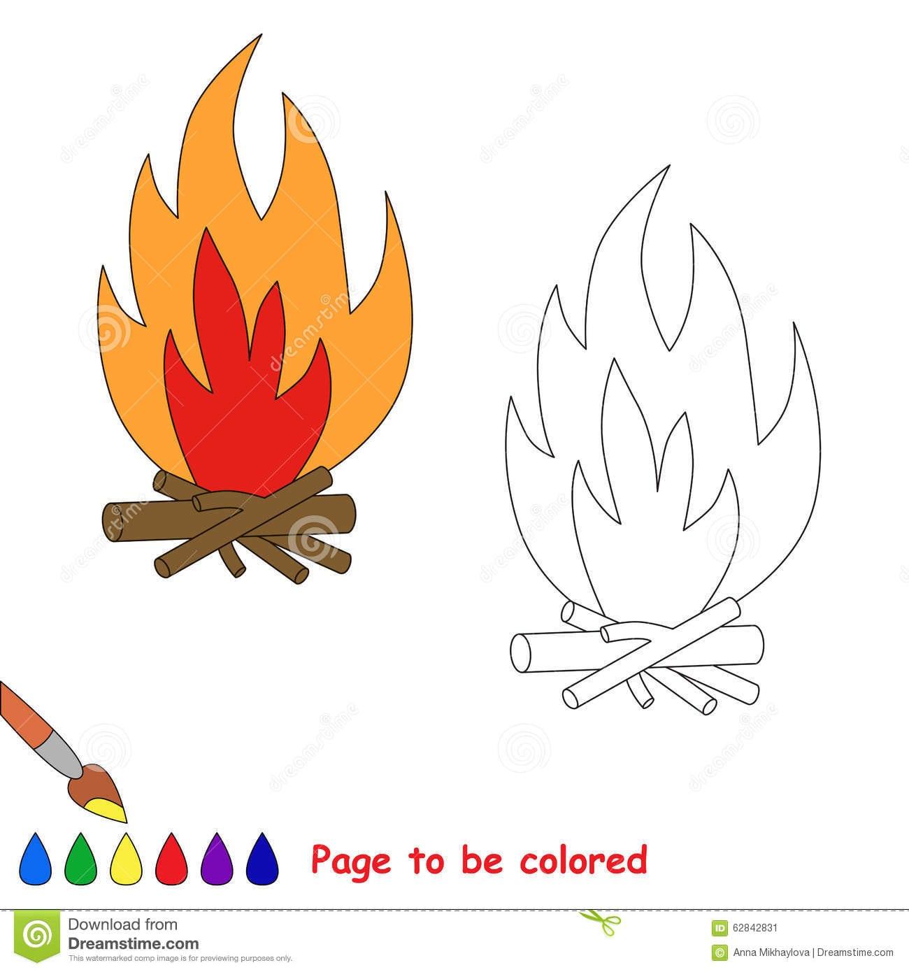 Fogueira Dos Desenhos Animados Do Vetor A Ser Colorida Ilustração