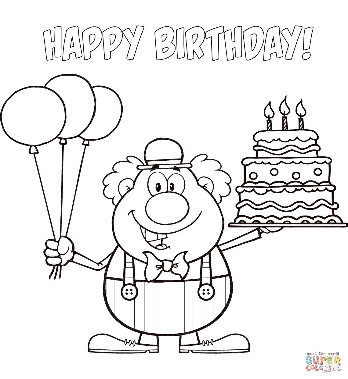 Desenho De Feliz Aniversário Palhaço Com Balões E Bolo Para