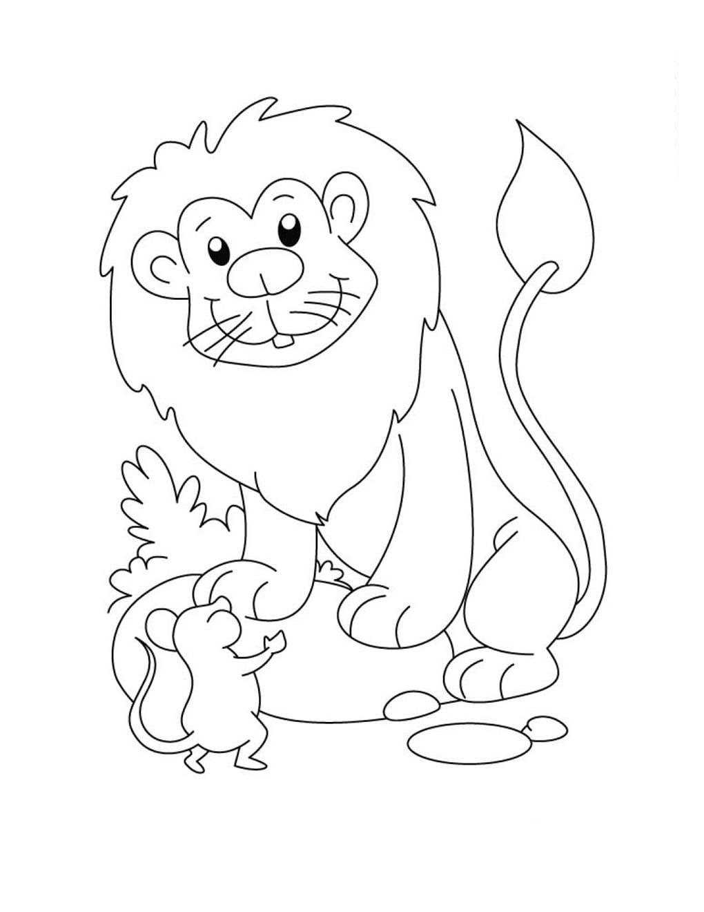 Desenho De Leão Conversando Com Ratinho Para Colorir