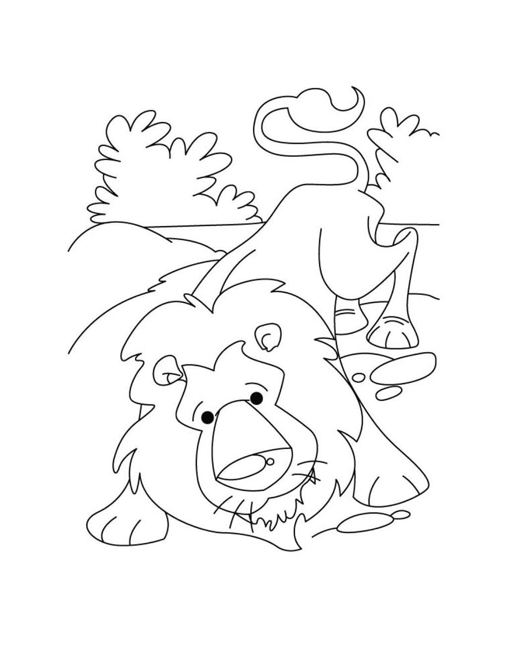 Desenho De Fábula Do Leão E O Ratinho Para Colorir