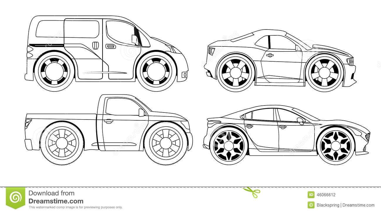 Livro Para Colorir  Carros Estilizados Ajustados Ilustração Do