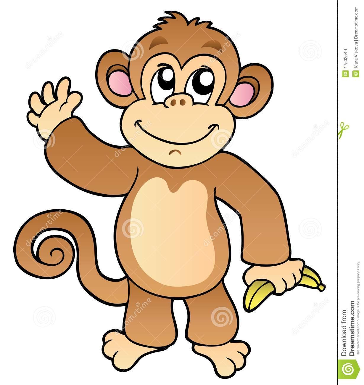 Macaco De Ondulação Dos Desenhos Animados Com Banana Imagens De