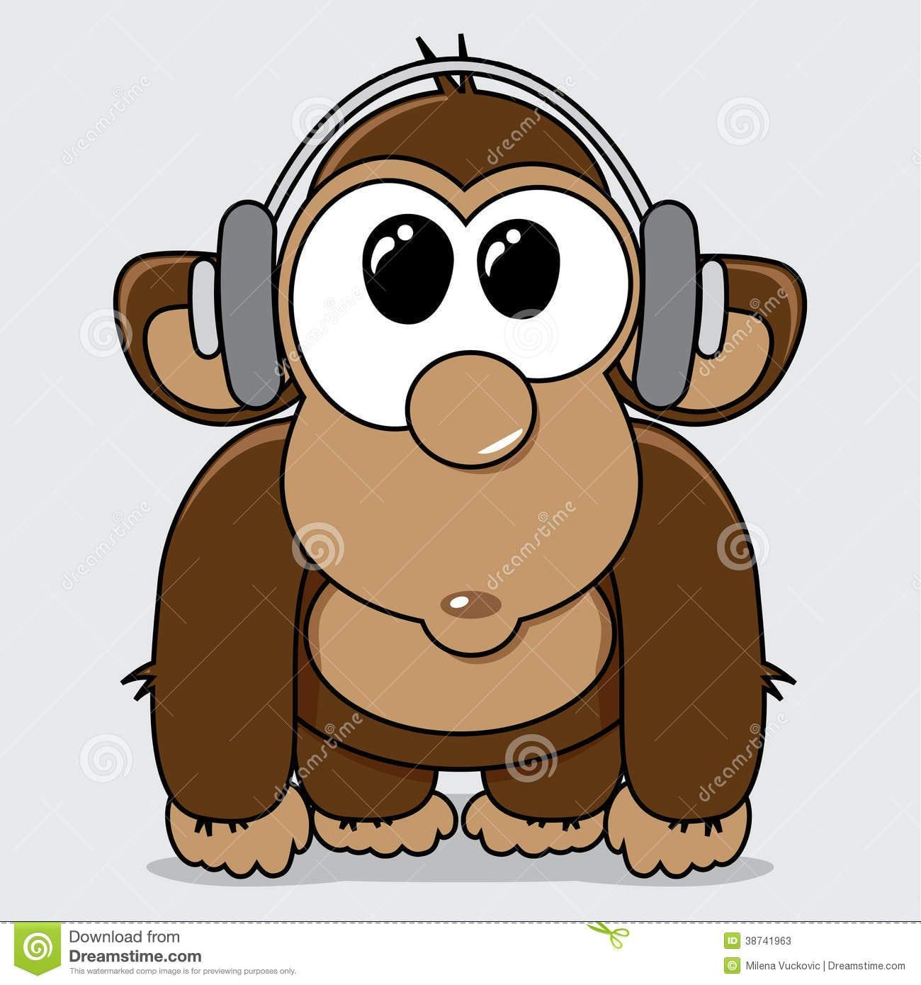 Macaco Engraçado Dos Desenhos Animados Com Fones De Ouvido Fotos