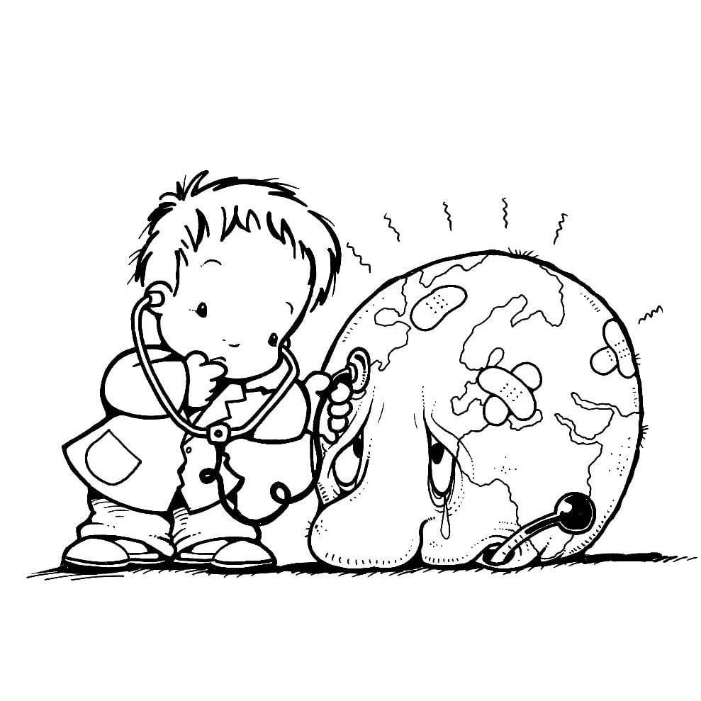 Desenho De Menino Cuidando Com Carinho Do Planeta Terra Para