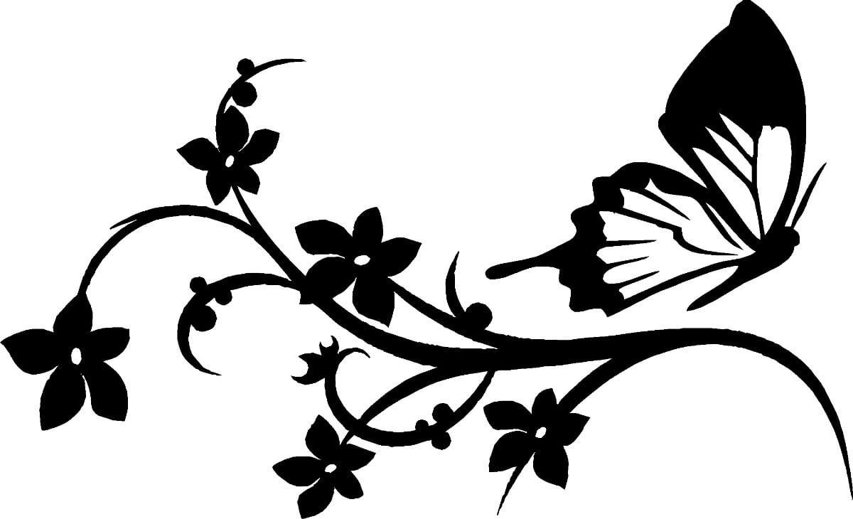Desenho De Flores E Borboletas