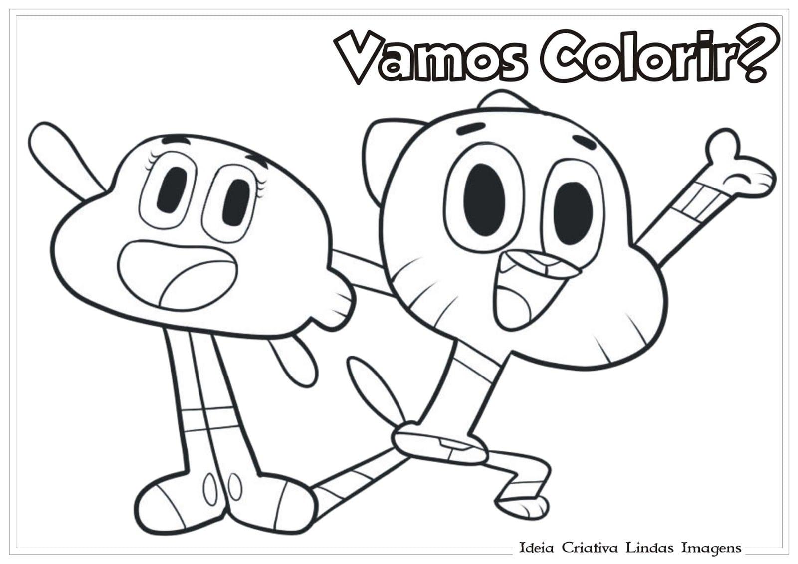 E Gumball (o Incrível Mundo De Gumball) Para Colorir