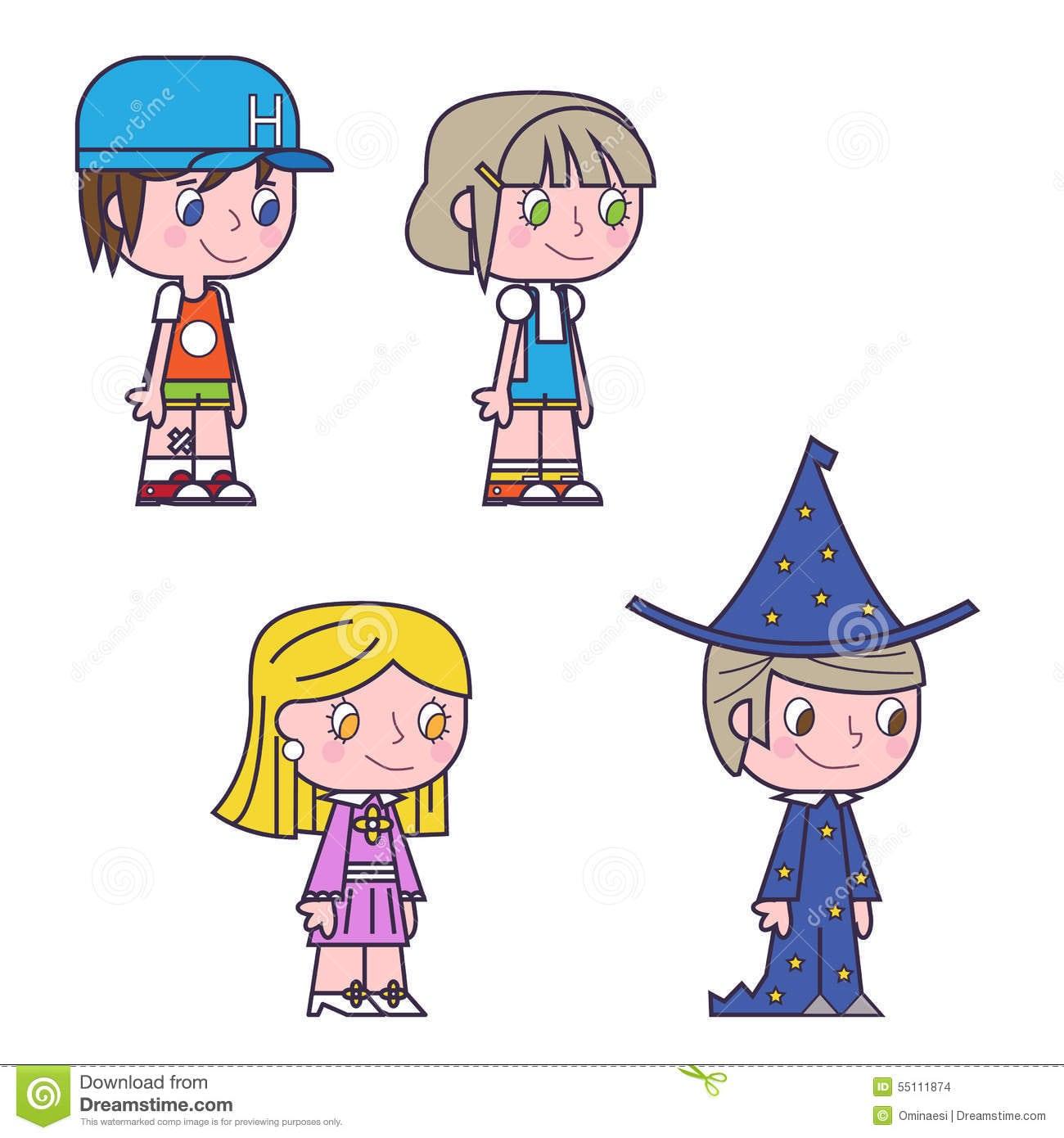 Grupo Dos Desenhos Animados De Meninos E De Meninas Dos Amigos