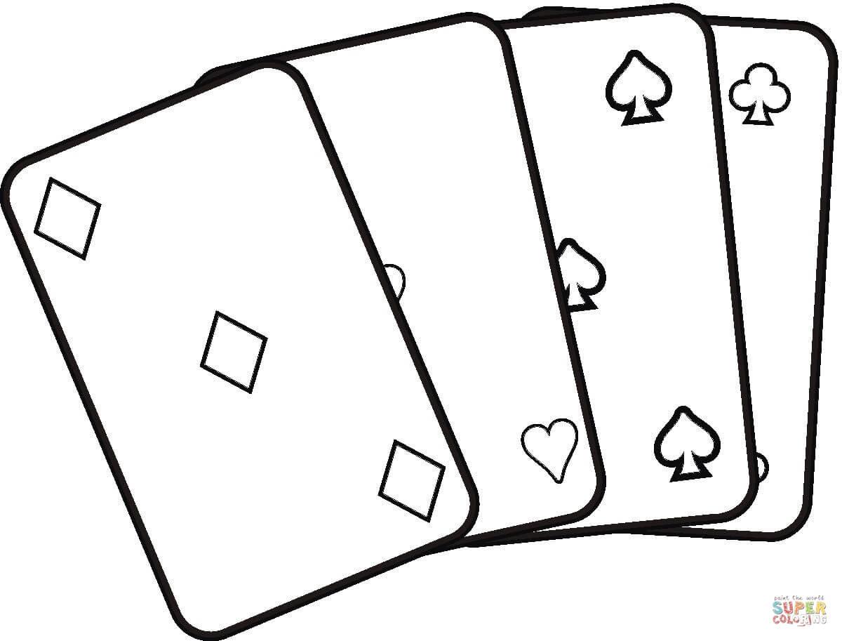 Desenho De Jogando Cartas Para Colorir