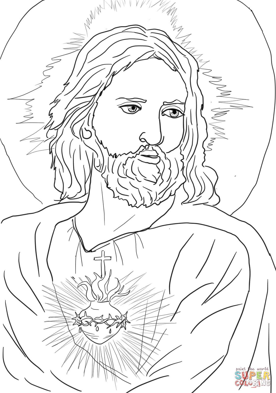 Desenho De Sagrado Coração De Jesus Para Colorir