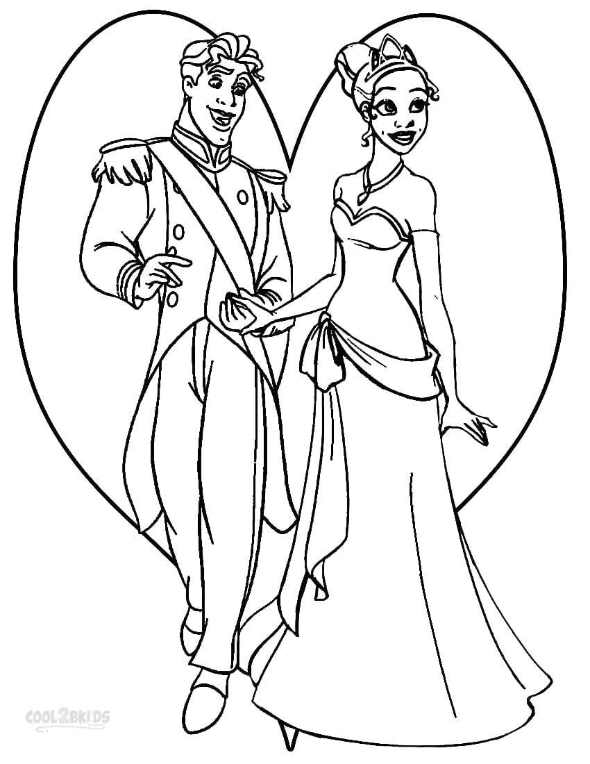 Desenhos De A Princesa E O Sapo Para Colorir, Pintar, Imprimir