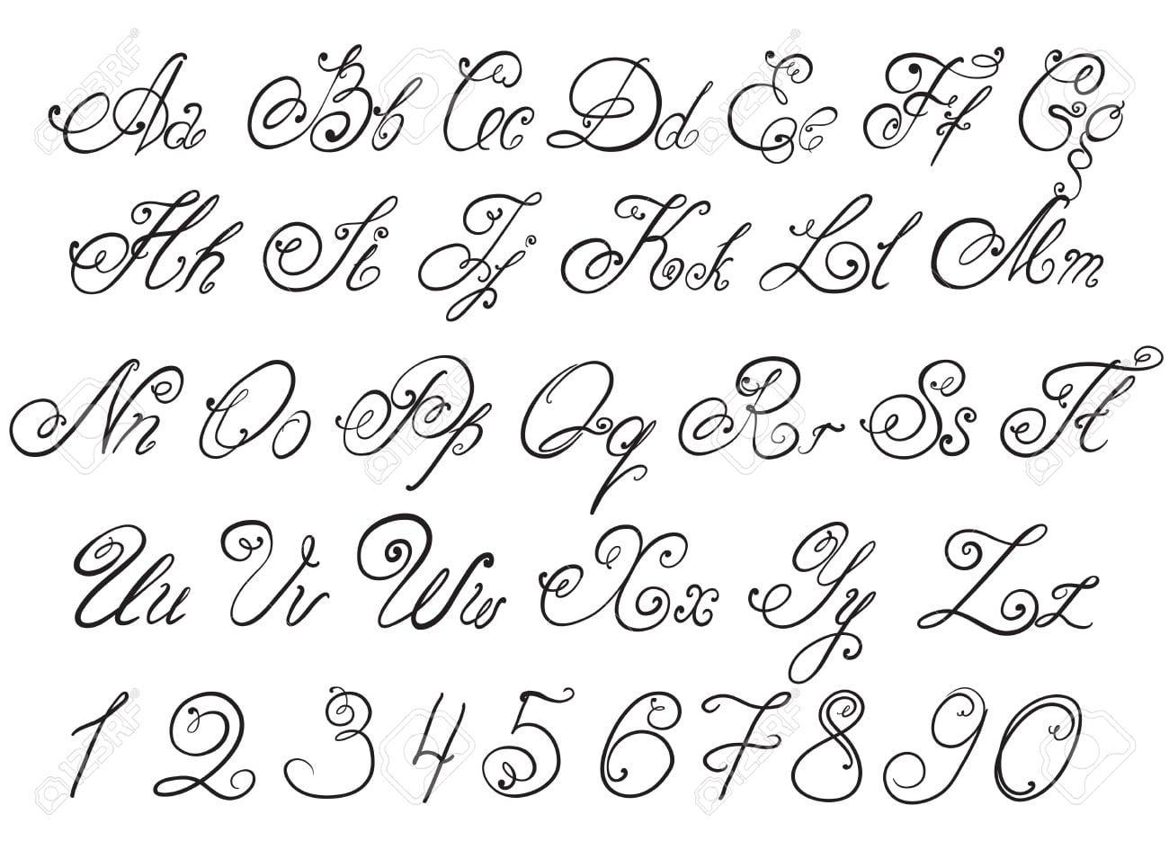 Vector Mão Desenhada Letras Do Alfabeto Desenho Caligráfico