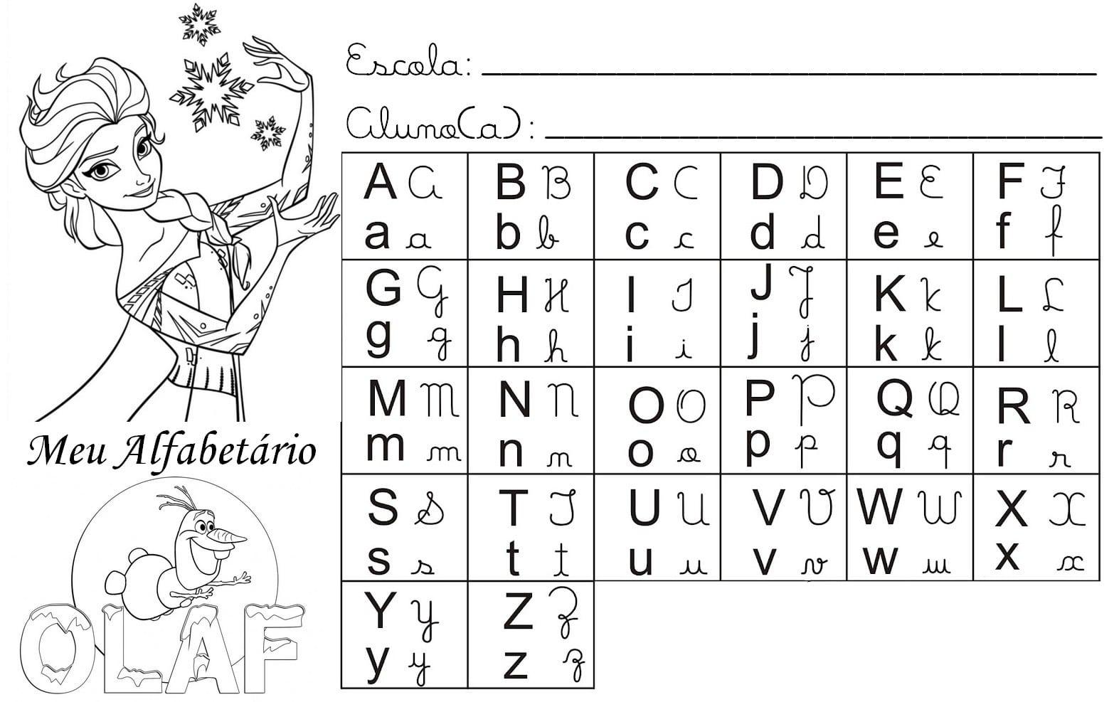 Desenho De Alfabeto Da Frozen Para Colorir