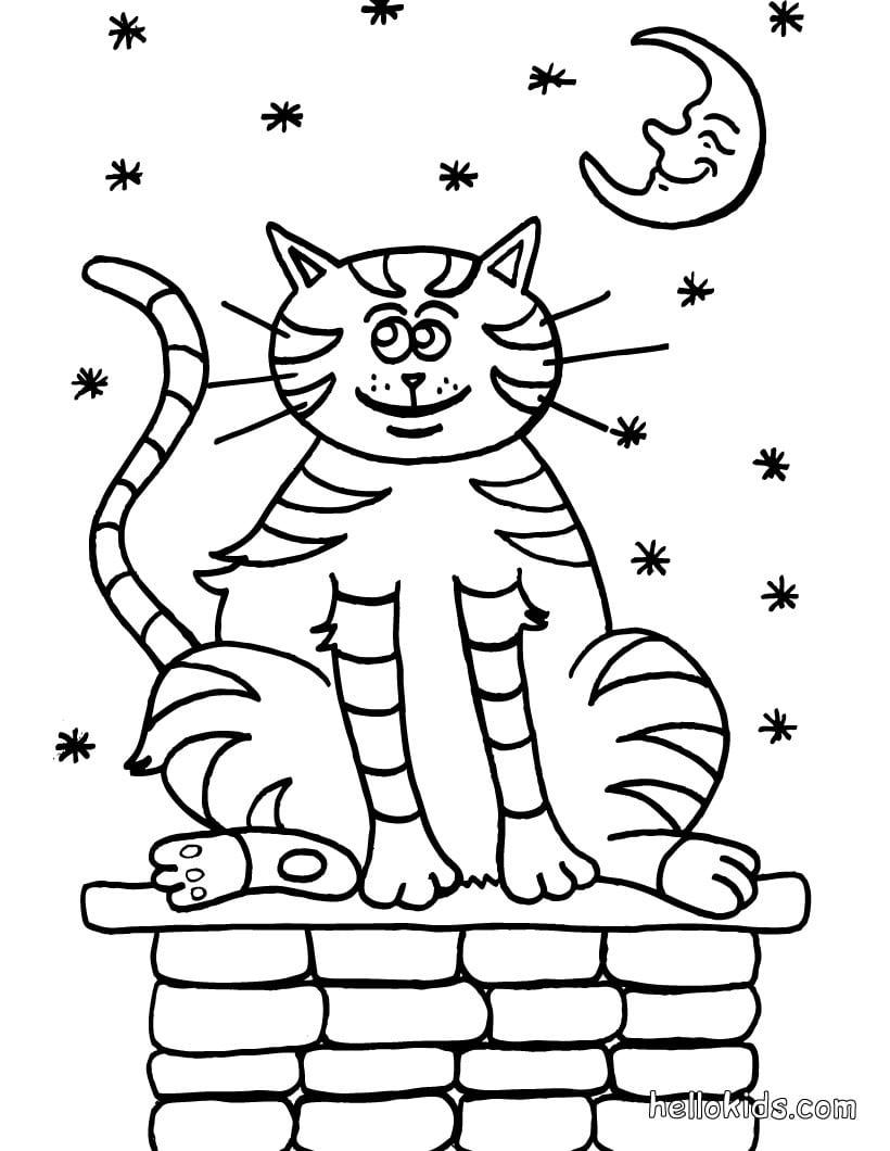 Desenhos Para Colorir De Desenho De Um Gato Andando Para Colorir
