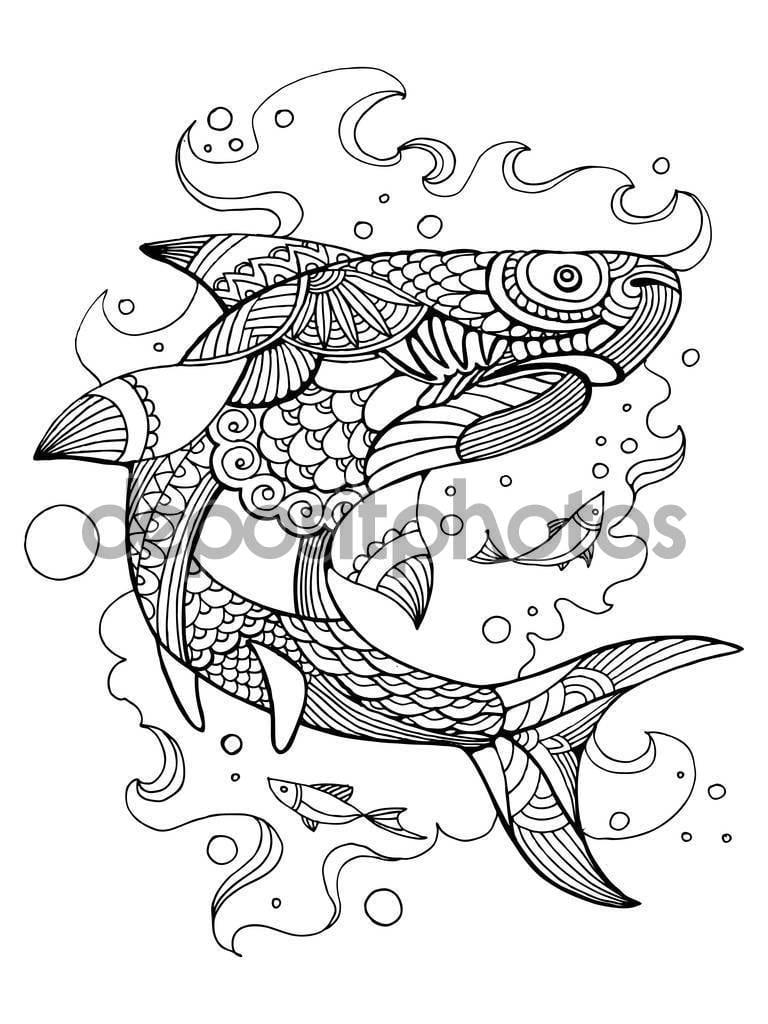 Tubarão Para Colorir Livro Para Vetor De Adultos — Vetor De Stock