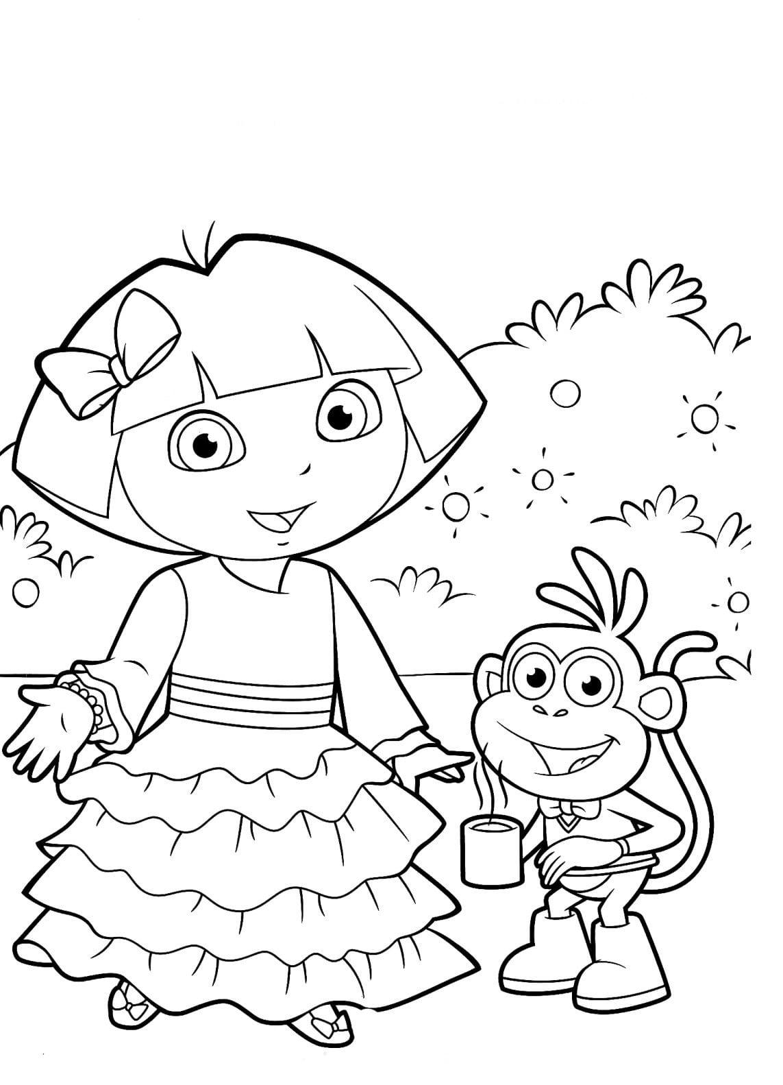 Desenho Dora Aventureira Para Colorir