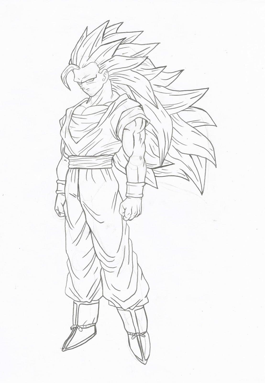 Como Desenhar Goku Super Sayajin 3