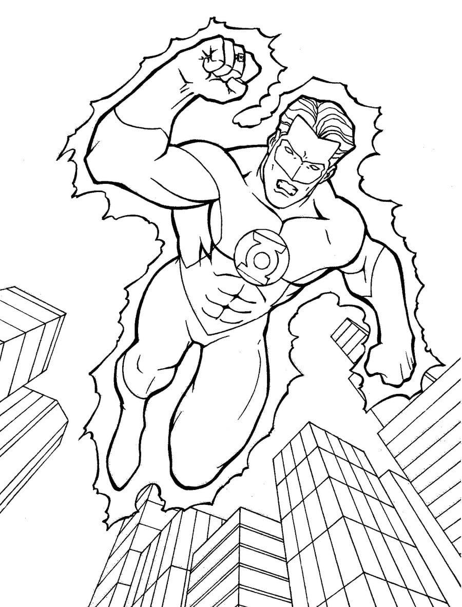 Desenho Do Lanterna Verde Para Colorir Gratis Herói Para Pintar