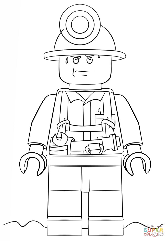 Desenho De Lego Mineiro Da Cidade Para Colorir