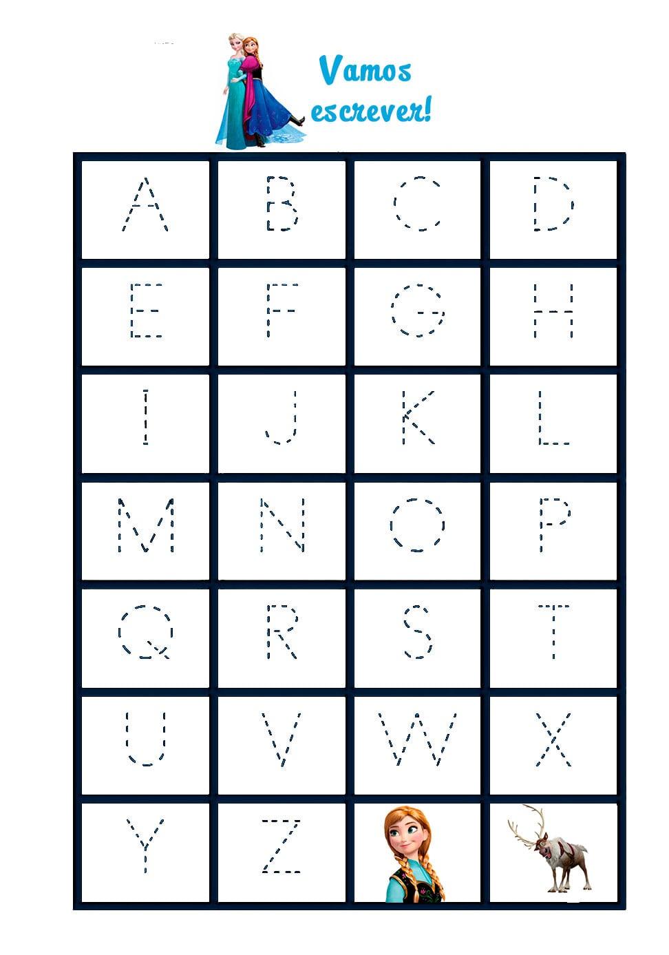Desenho De Letras Do Alfabeto Frozen Para Colorir