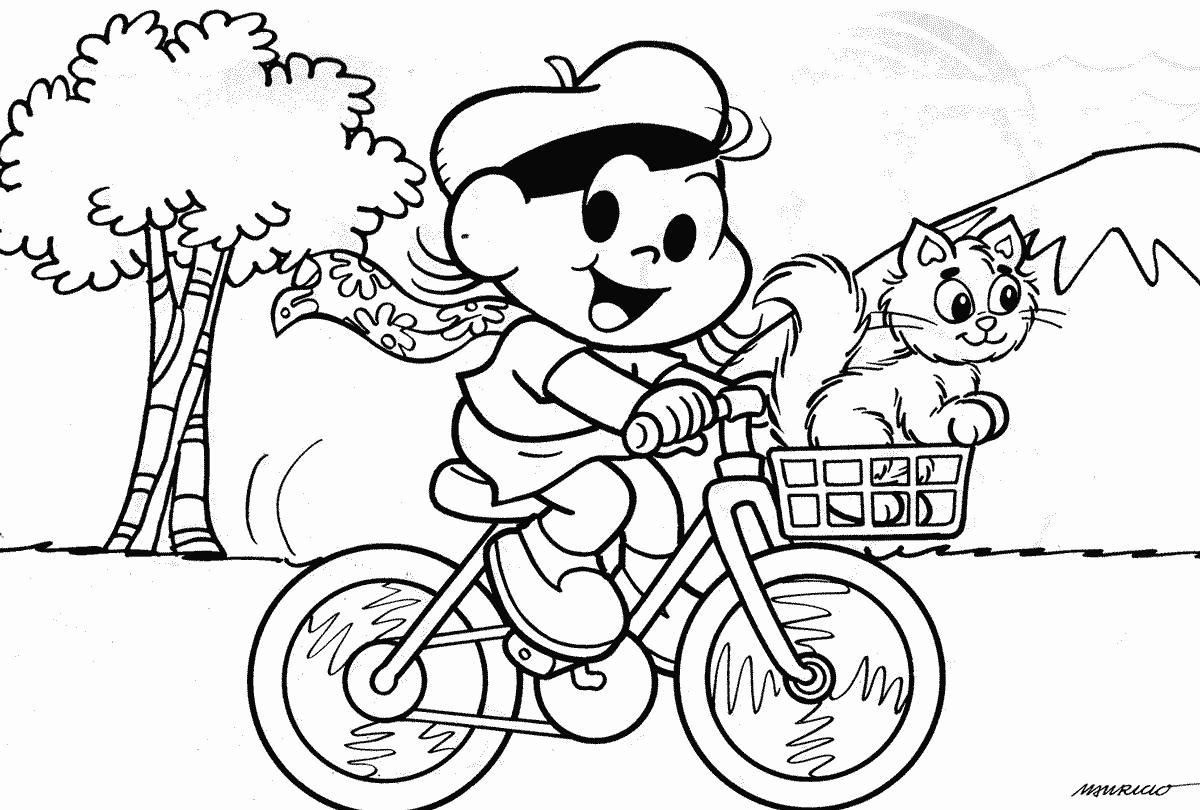 Desenho Da Magali Andando De Bicicleta Com Mingau — Colorir Org