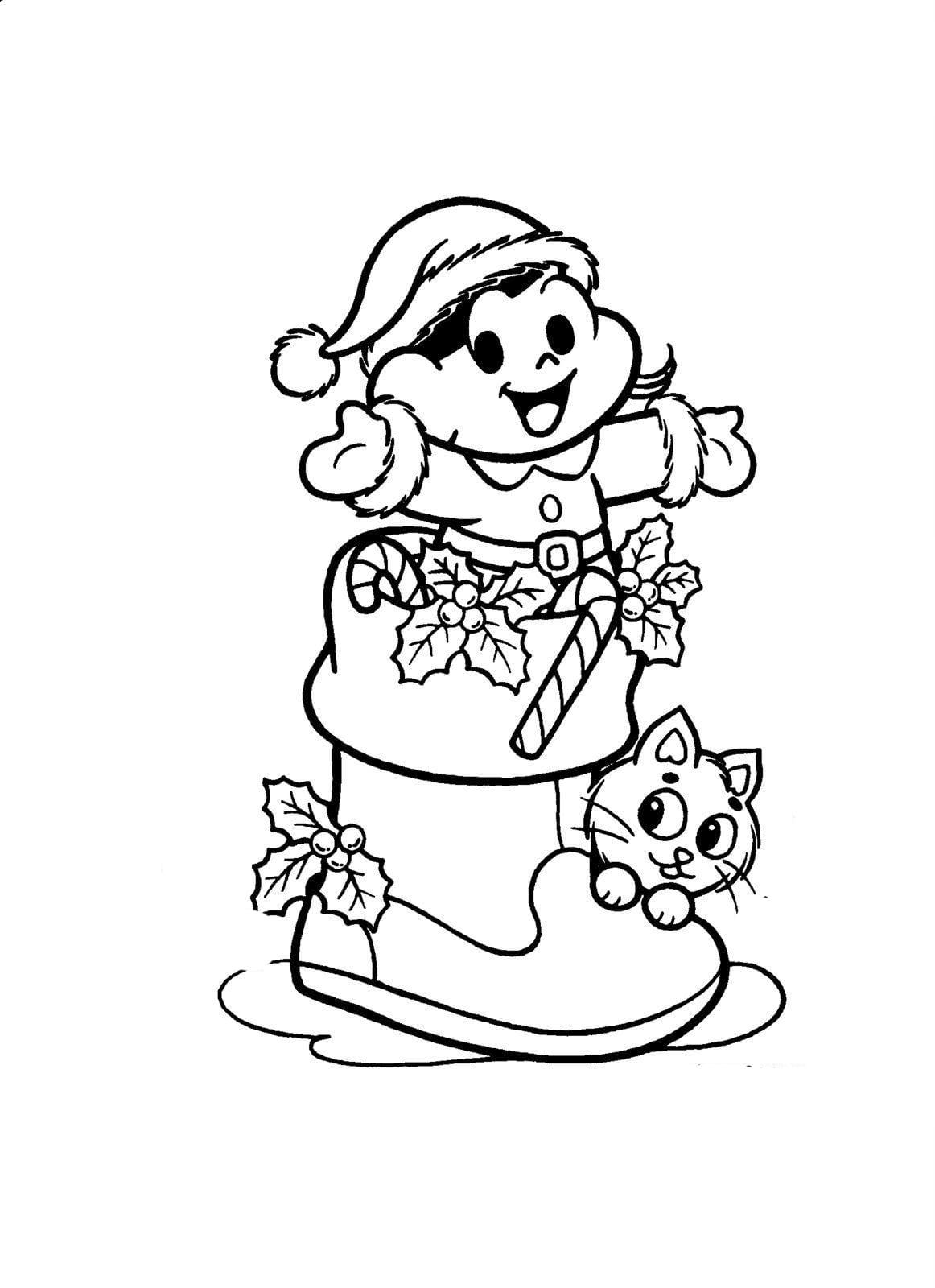 Desenho De Magali Na Meia De Natal Para Colorir