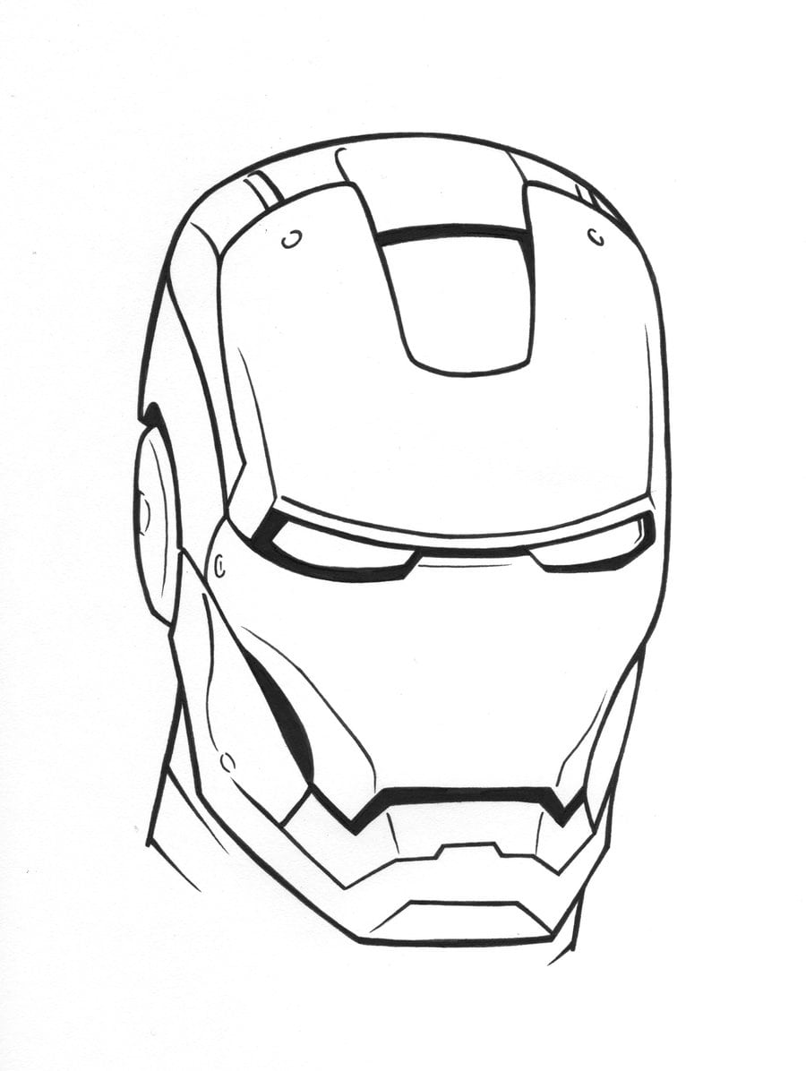 Desenho De Máscara Do Homem De Ferro Para Colorir