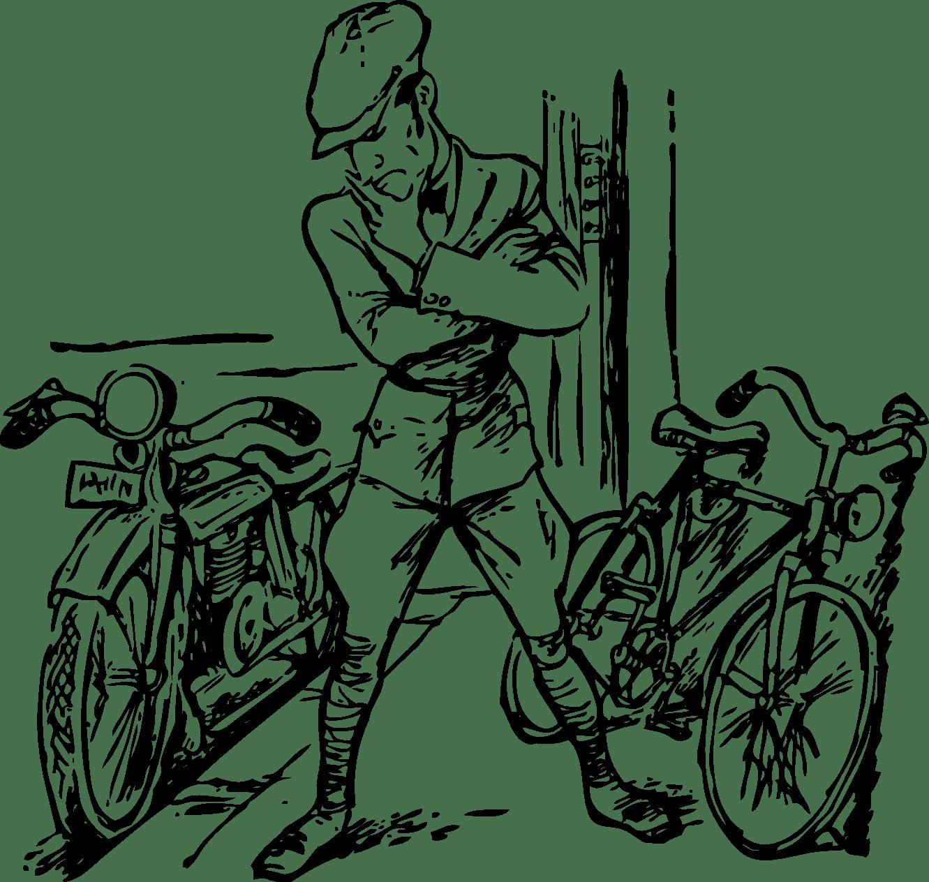Desenho De Moto E Bicicleta Para Colorir