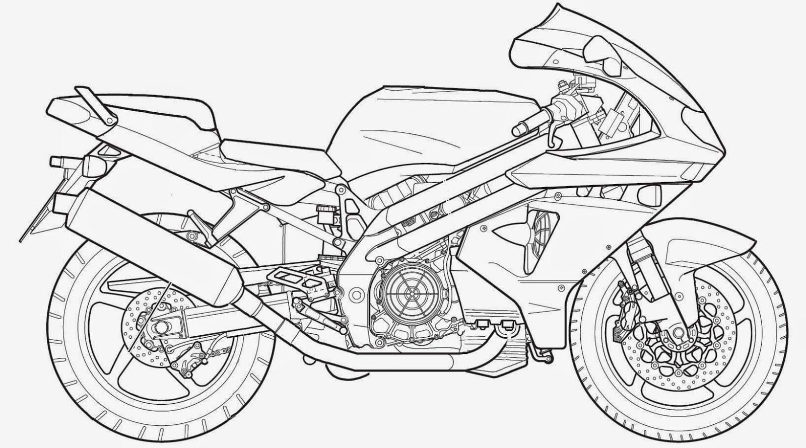 Desenhos Para Pintar  Desenhos De Motos Para Colorir