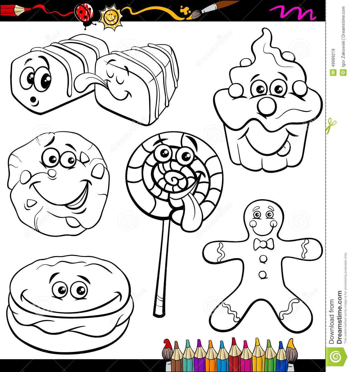 Os Doces Ajustaram O Livro Para Colorir Dos Desenhos Animados