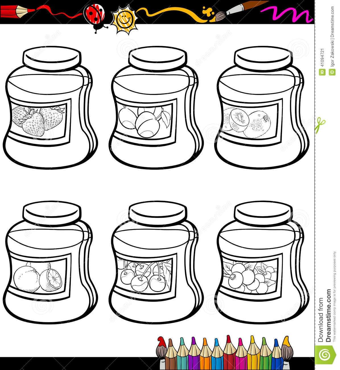 Os Doces Em Uns Frascos Ajustaram O Livro Para Colorir Dos