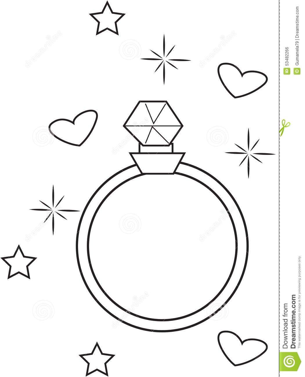 Página Da Coloração Do Anel De Diamante Ilustração Stock