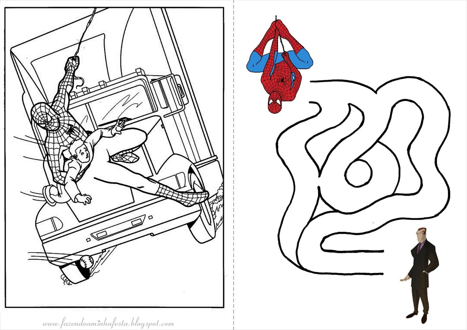 Fazendo A Minha Festa Para Colorir  Homem Aranha