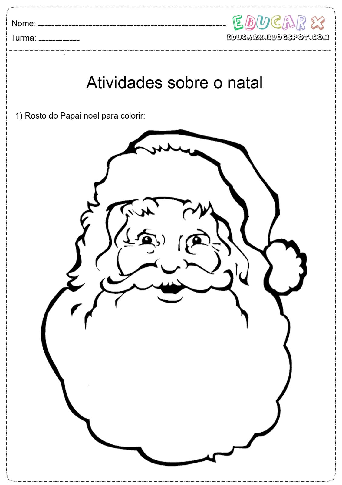 Atividades Escolares  Rosto De Papai Noel Para Colorir E Imprimir