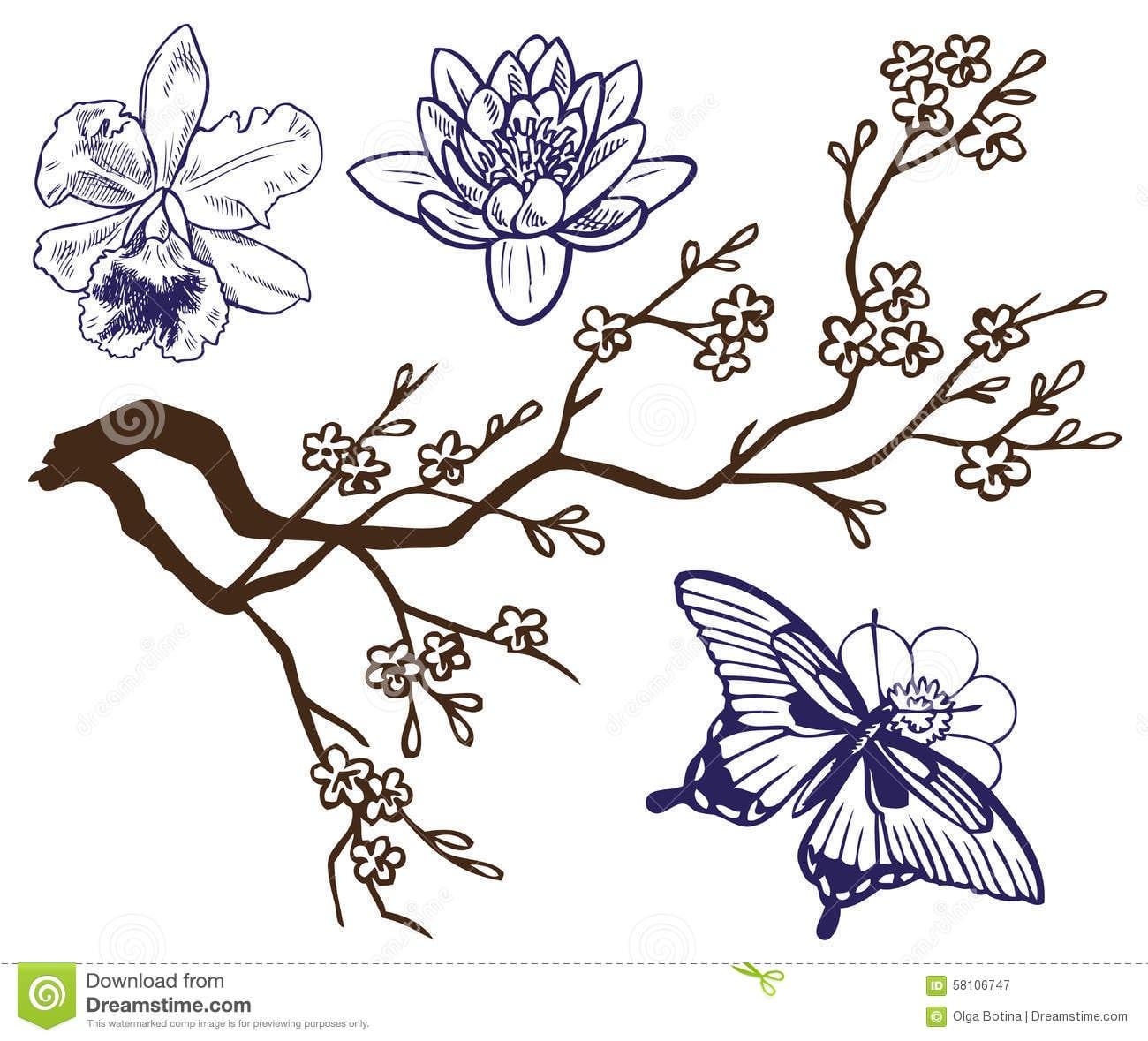 Ramo Do Desenho Com Flores E Borboletas Ilustração Do Vetor