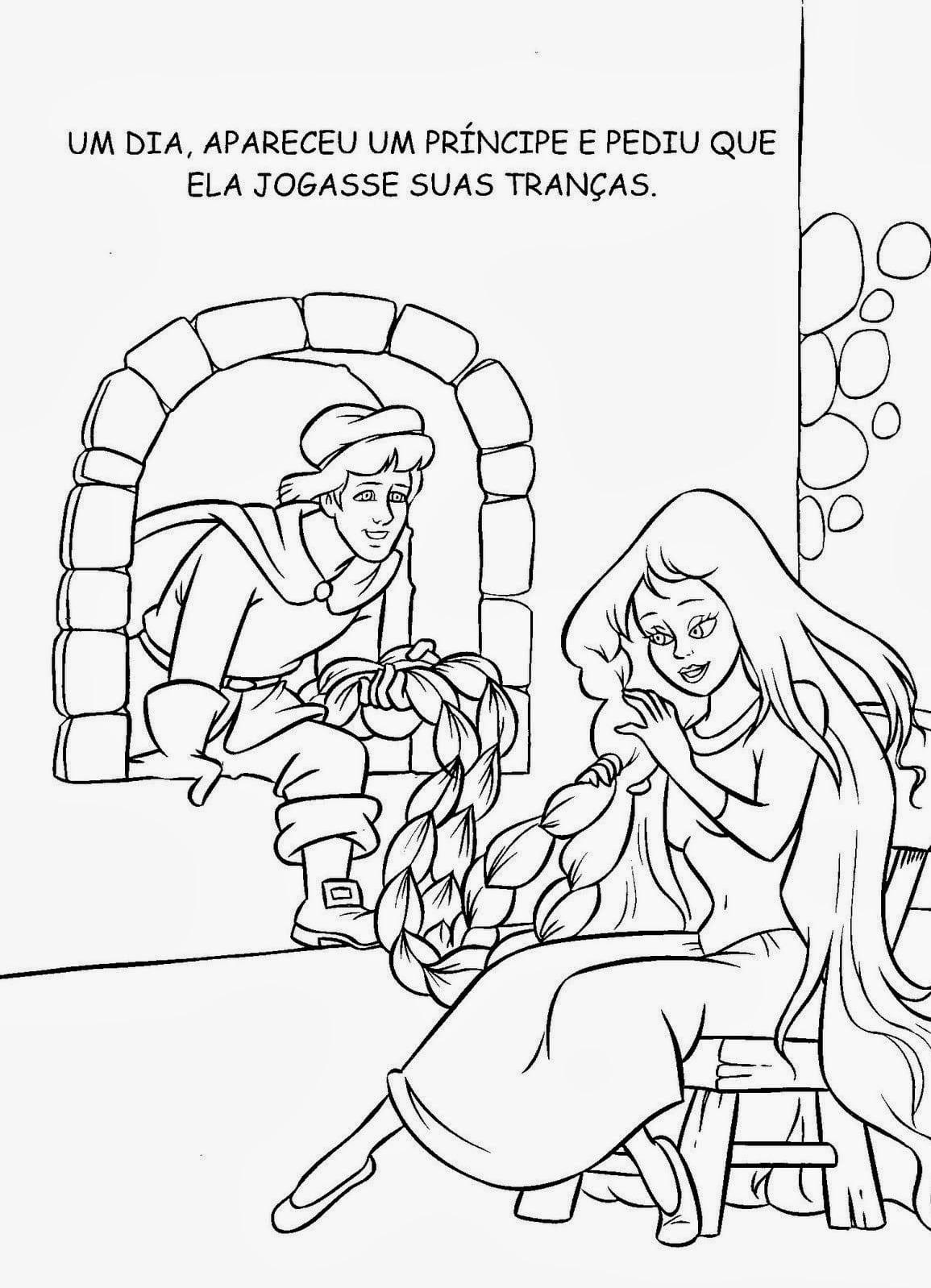 Livro De História Rapunzel Para Colorir, Pintar, Imprimir