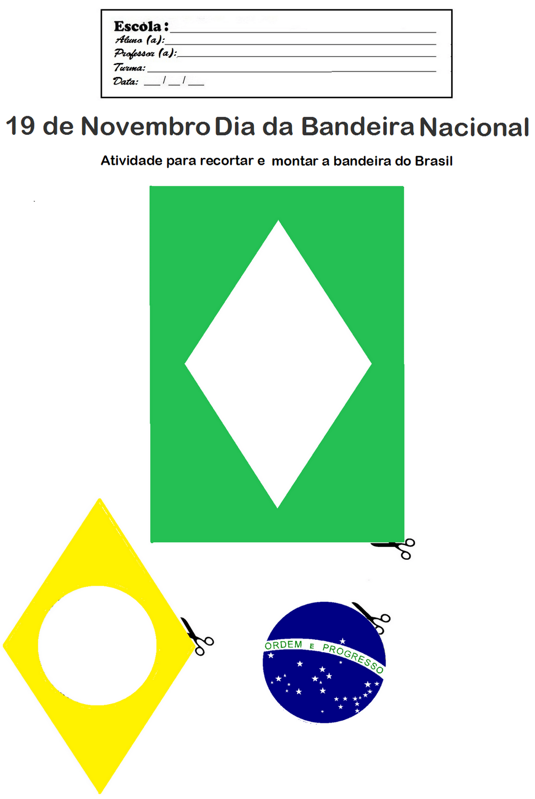 Bandeira Do Brasil Para Colorir E Montar – Pampekids Net