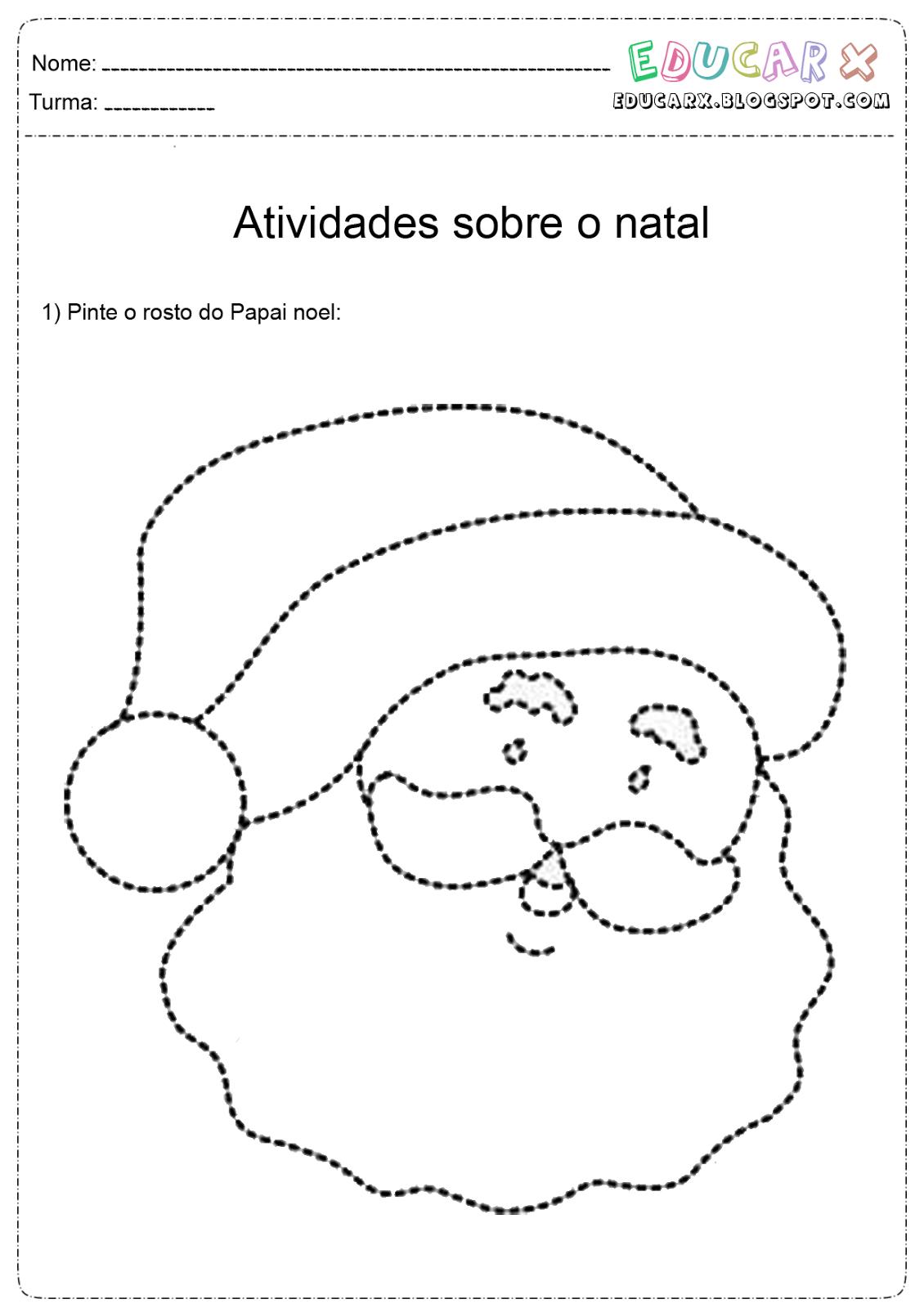 Educar X  Rosto De Papai Noel Para Colorir E Imprimir