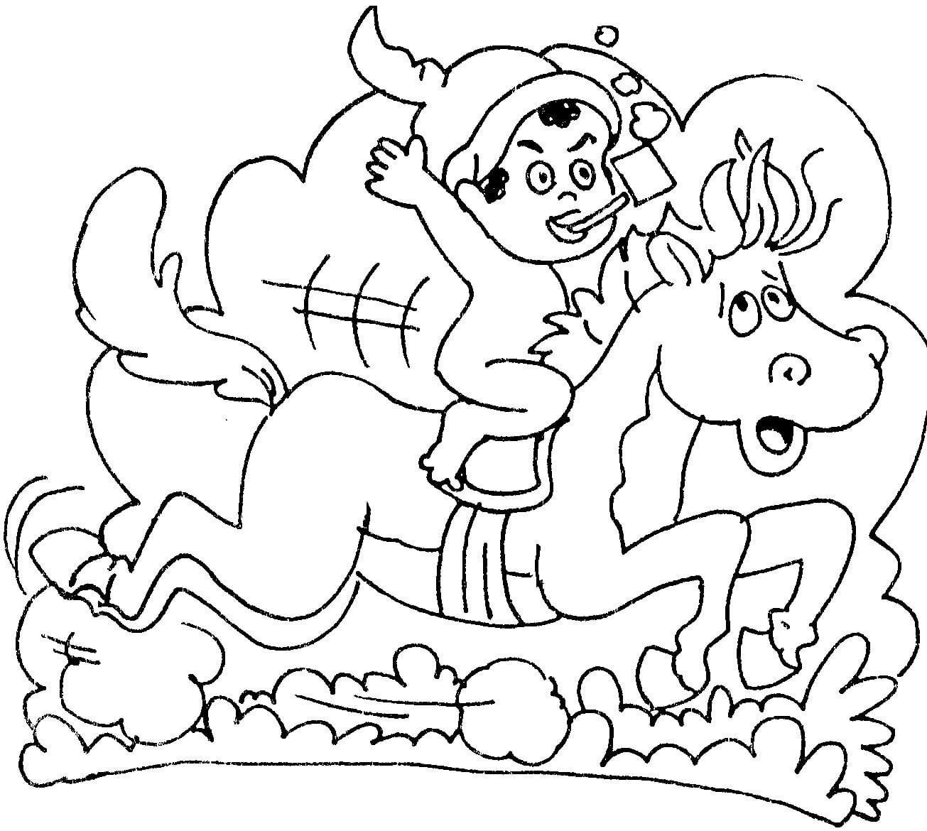 Desenho De Saci E Cavalo Para Colorir