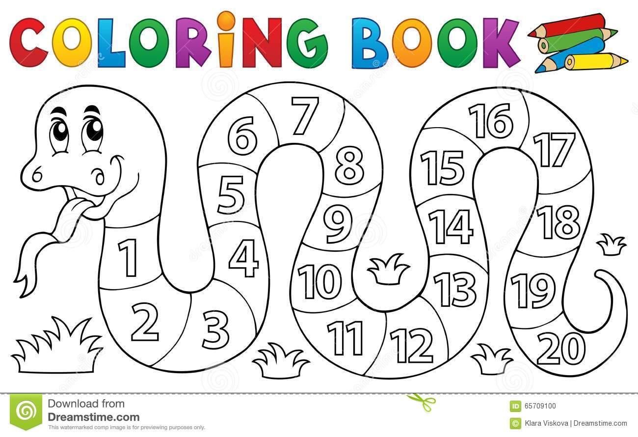 Serpente Do Livro Para Colorir Com Tema Dos Números Ilustração Do
