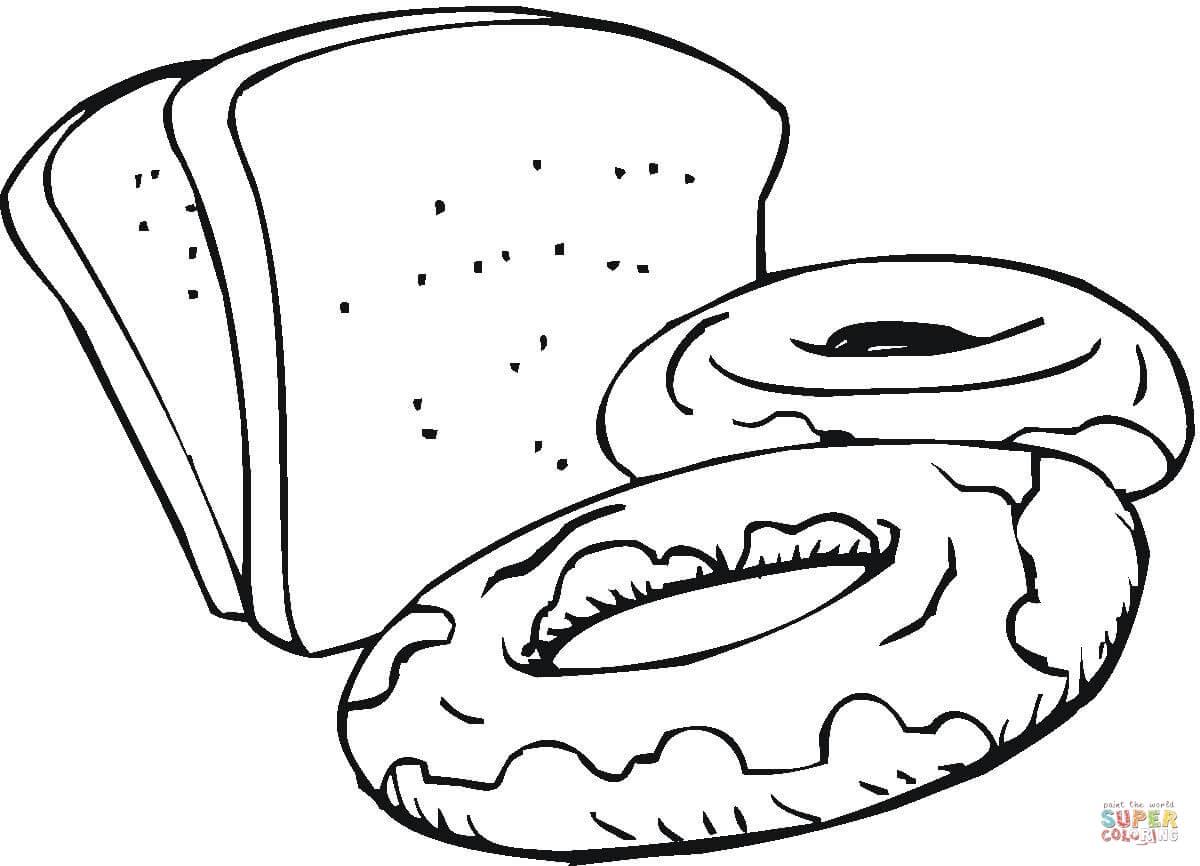 Desenho De Fatias De Pão E Doces Para Colorir