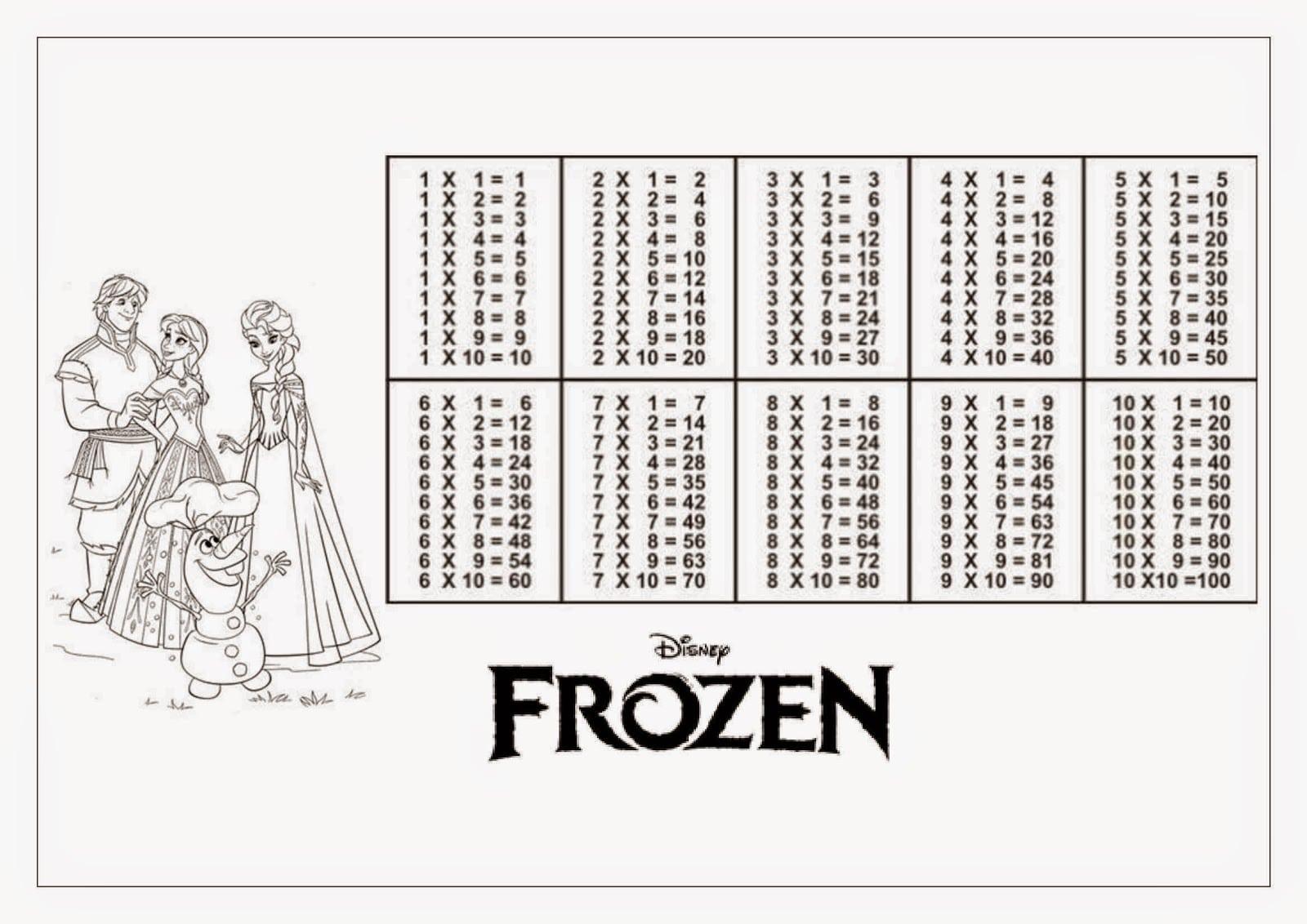 Desenho De Tabuada De Multiplicação Frozen Para Colorir
