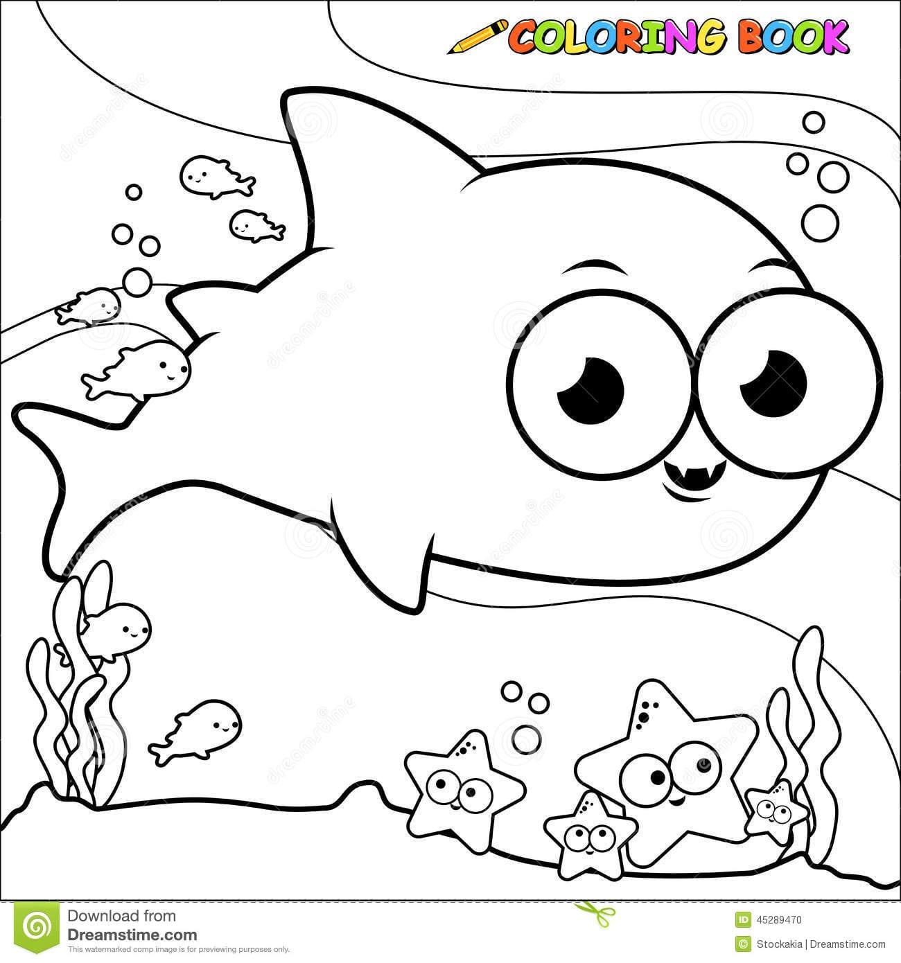 Tubarão Subaquático Do Livro Para Colorir Ilustração Do Vetor