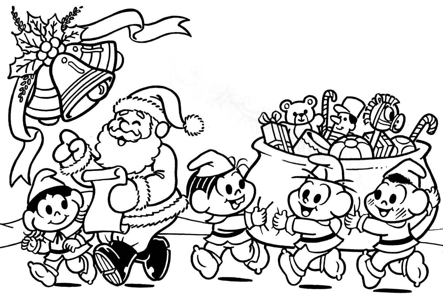 Desenho De Turma Da Monica Ajudando O Papai Noel Para Colorir