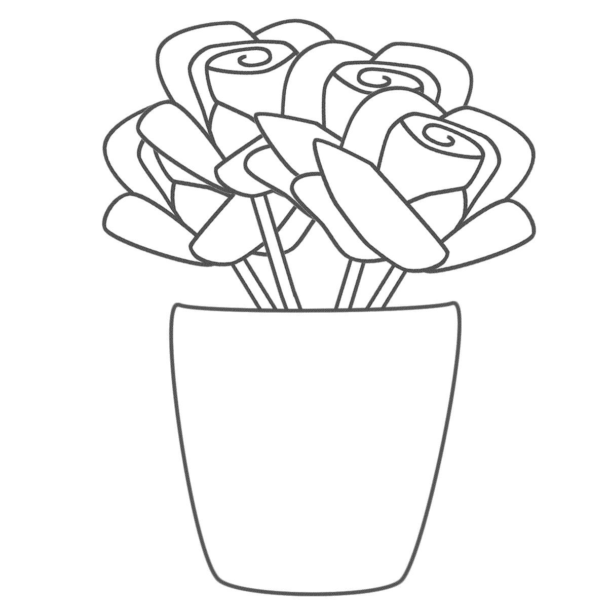Desenho De Vaso Com Ramo De Rosas Para Colorir